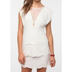 Cooperative White Scallop Peplum Dress UO NYE